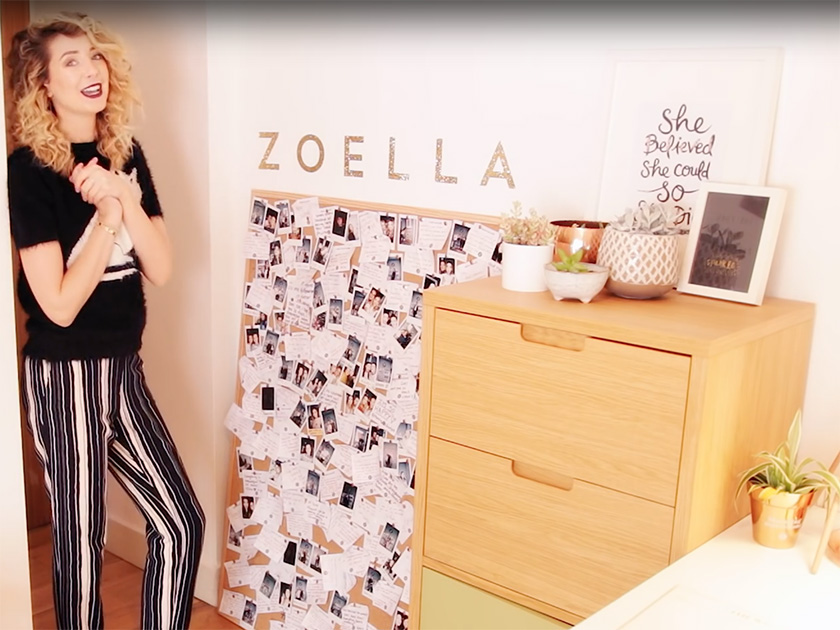 I have these gold glitter letters that someone sent me so I decided to  stick them on my wall to spell out my name  they look really good   Zoella. Zoella and Mark Ferris inspired buys to update your bedroom in style