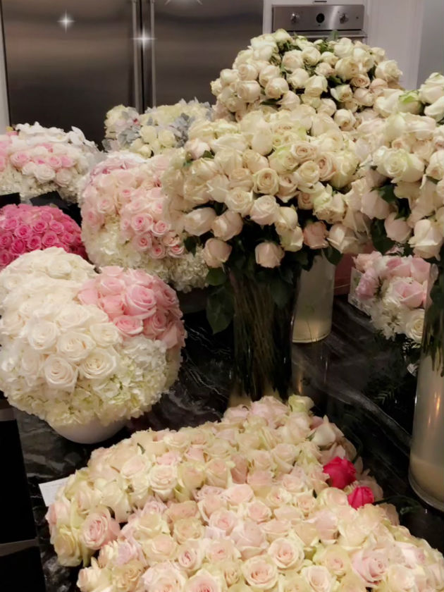 Check out what kim and kayne delivered to kylie jenner after babys a meanwhile kylie has given a glimpse of the other gifts shes received since becoming a mum including a flower arrangement which appeared to be shaped negle Gallery