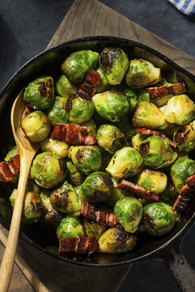 Brussel sprouts with crispy bacon and chestnuts - Woman ...