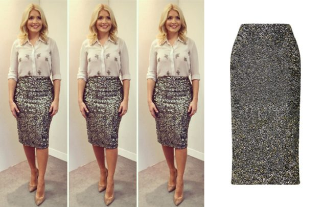 holly willoughby sequins skirt