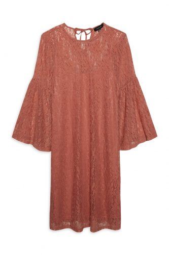 068adfae53f A glass of wine with the girls and this lace flute sleeve dress  accessorised with velvet