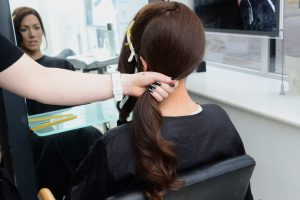 Hair in ponytail