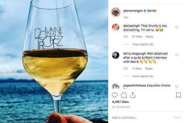 Piers Morgan's Instagram post of his thumb