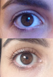 Lashes before and after LVL treatment