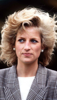 Diana, Princess of Wales with windswept hair.