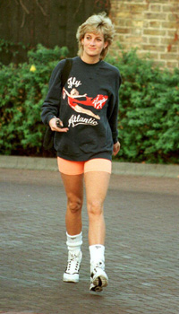 Diana, Princess of Wales, wearing a Virgin Atlantic sweatshirt, leaves Chelsea Harbour Club, London in November, 1995.