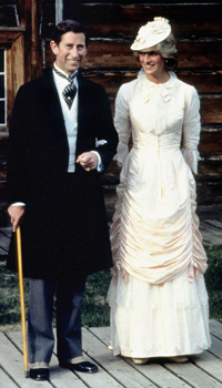 The Prince and Princess of Wales dress up in Klondyke fashion during their tour of Canada.