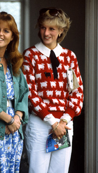 Princess Diana (right) with Sarah Ferguson at the Guard's Polo Club, Windsor
