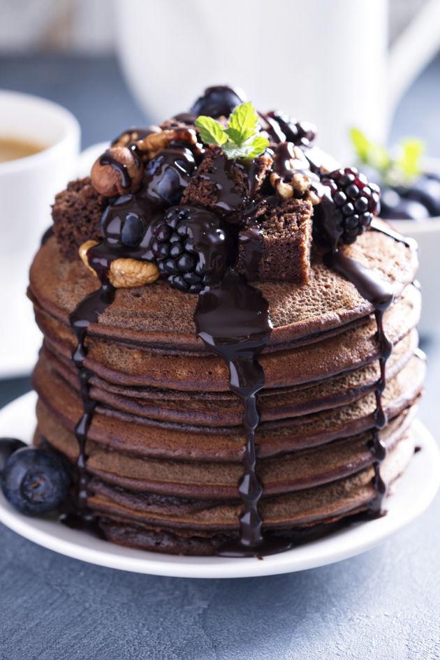 OMG chocolate pancakes with chocolate maple syrup!
