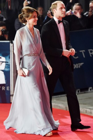 The Duke and Duchess of Cambridge joined the stars on the red carpet last night for the premiere of the new James Bond 007 film SPECTRE staring Daniel Craig! Kate looked stunning in a silk blue gown with Jimmy Choo shoes, and Prince William could have given 007 a run for his money in his smart suit and bow tie!