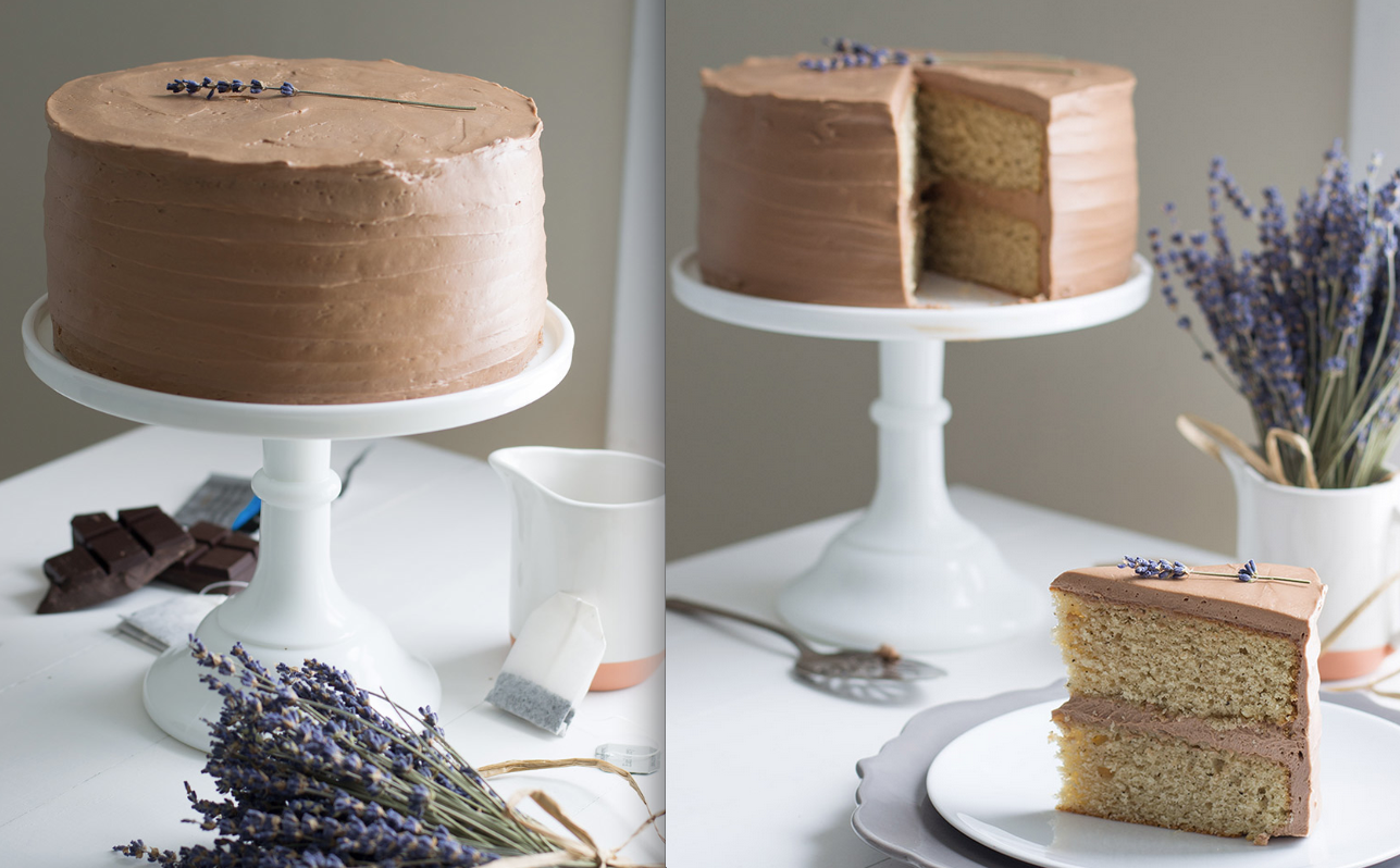 Chocolate Lavender Cake Earl Grey Frosting