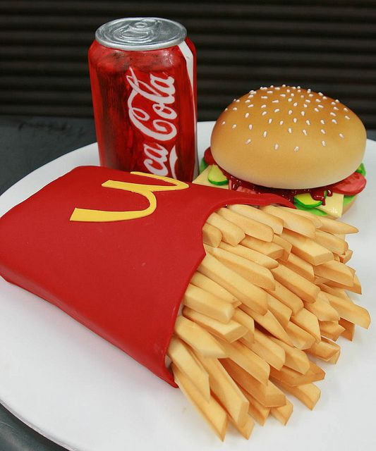 A Burger Cake With Extra Large Fries Please Woman S Own