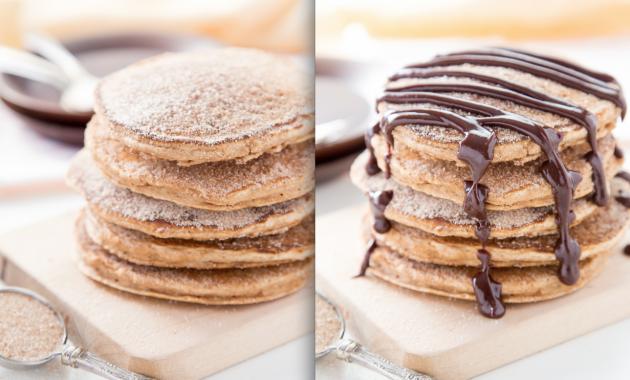 Churro Pancakes Y Chocolate Sauce