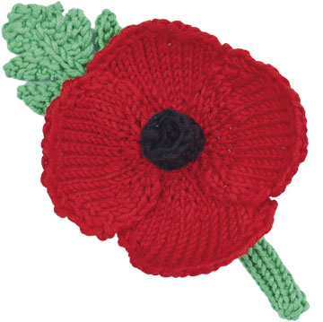 Knitting Pattern For Poppy Flowers : How to make a knitted or crochet poppy wreath