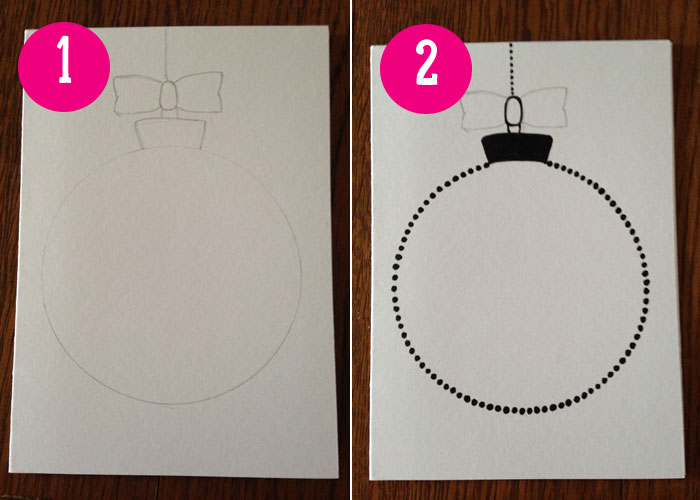 Homemade Cards: How to draw bauble Christmas cards