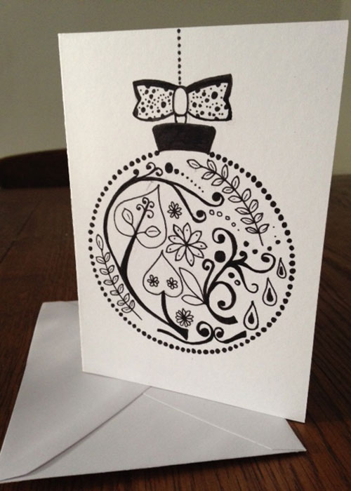 Christmas Card Drawing.Homemade Cards How To Draw Bauble Christmas Cards