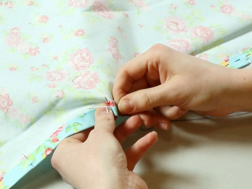 tack along the double hemmed edge to create the envelope cushion cover