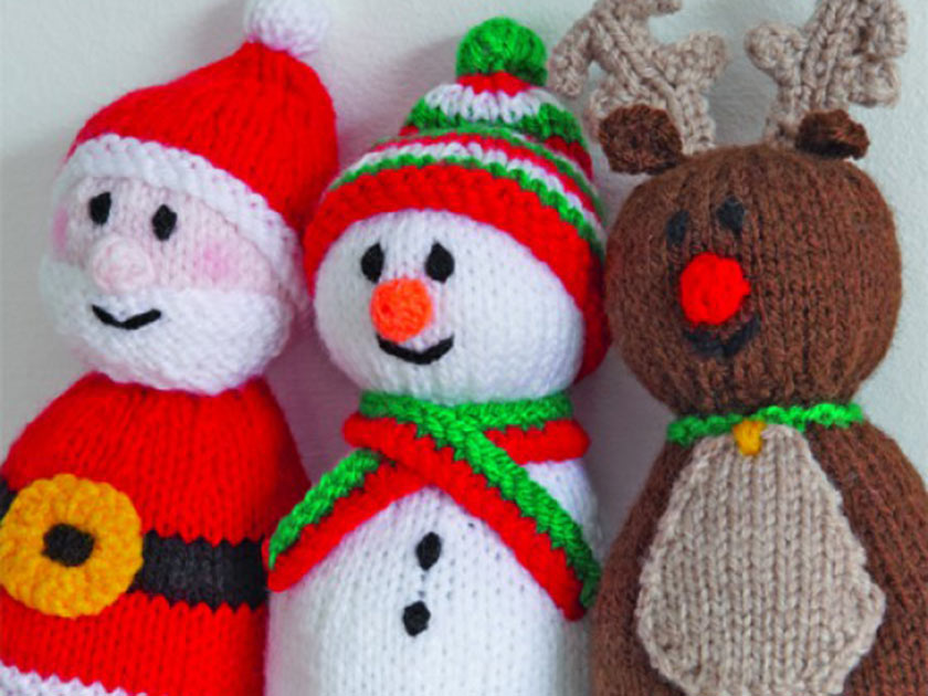 Knitting Patterns Christmas Toys : Get festive with a Santa, reindeer and snowman knitting pattern