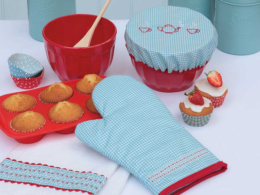 Cross stitch a tea towel bowl cover and oven glove
