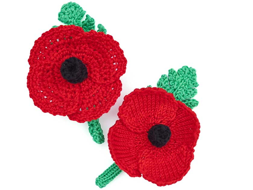 Free Crochet Poppy Brooch Pattern : How to make a knitted or crochet poppy wreath
