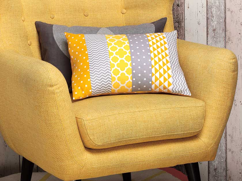 Cushion made with fabric scraps