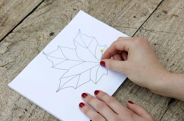 Ксерокопия шаблона листа квиллинга из бумаги