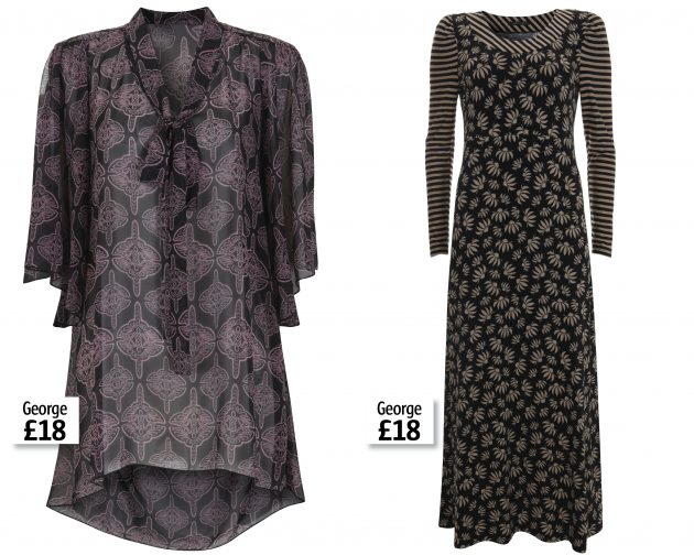 A blouse and maxi dress from the latest Barbara Hulanicki for George collection