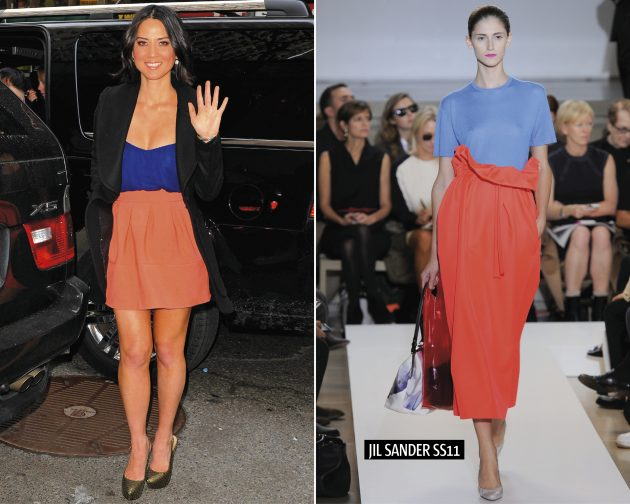 Olivia Munn arriving at the today show in New York, left, a model on the SS/11 Jil Sander catwalk