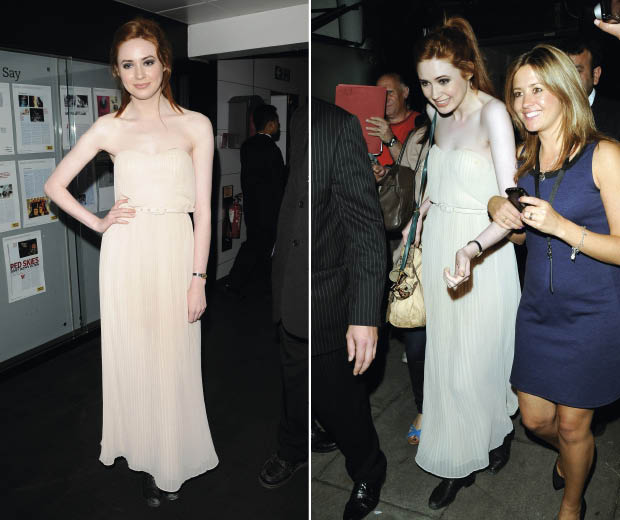 Karen Gillan at The Doctor Who Private Screening wearing a French Connection maxi dress