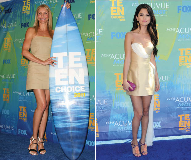 Cameron Diaz in A.L.C.and Selena Gomez in Erin Fetherston at the 2011 Teen Choice Awa