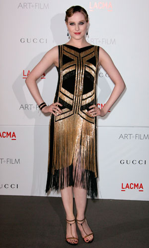 Evan Rachel Wood wearing a Gucci flapper-style dress