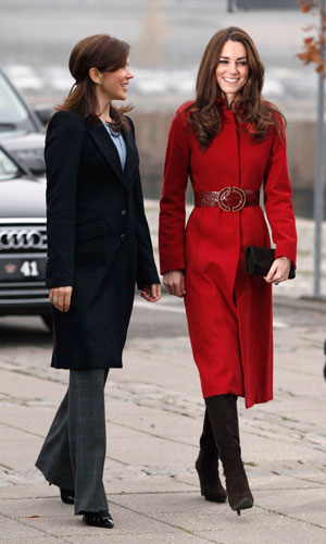 Kate Middleton wearing a red L.K Bennett coat with Princess Mary of Denmark