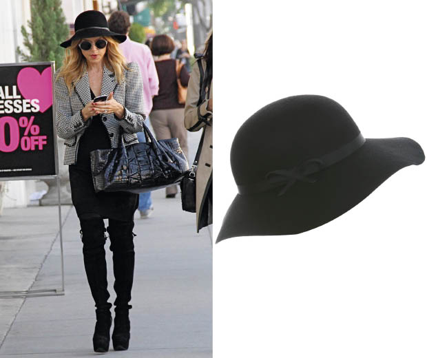 Rachel Zoe in a floppy hat and round sunglasses,get the look with this floppy hat from Miss Selfridge