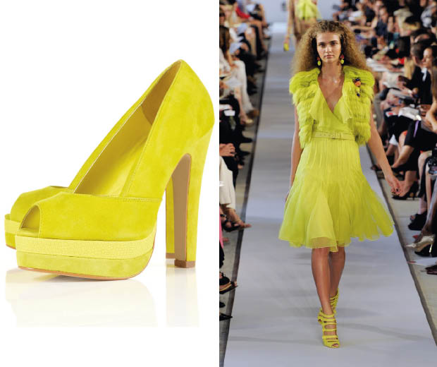 It's all yellow for SS12 – check out Topshop's yellow platforms and Oscar de la Renta's catwalk show