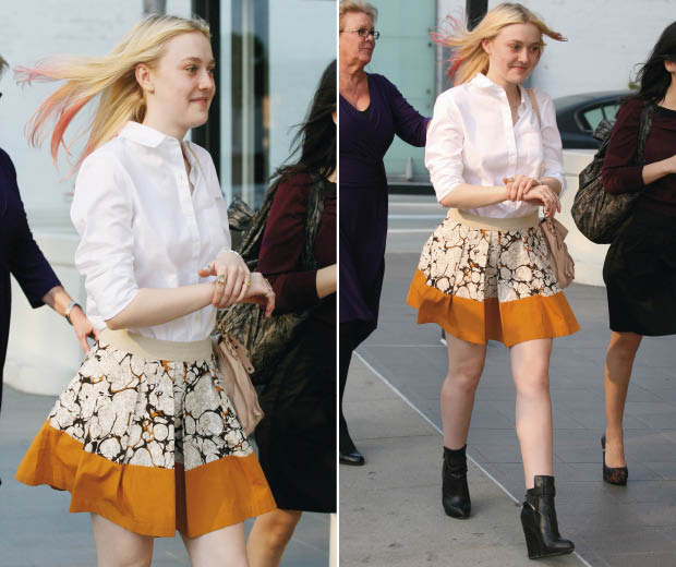 Check out Dakota Fanning's  dip-dyed hairstyle as she steps out with pink tips. Lookinf for hair inspiration? Then check out the best celebrity dip-dye hairstyles including styles from Cat Deeley, Beyonce, Caroline Flack and Nicole Richie...