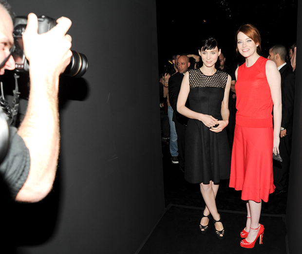 Rooney Mara and Emma Stone at Calvin Klein's AW12 show in New York