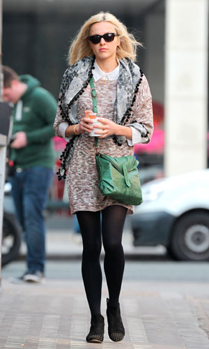 Fearne Cotton working the winter/spring crossover in a casual jumper dress.
