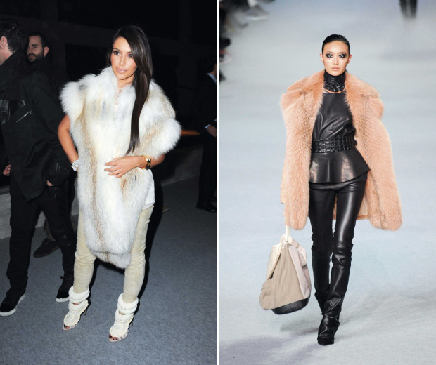 Kim Kardashian rocks Kanye West's four-figure heels at the Kanye West show in Paris!