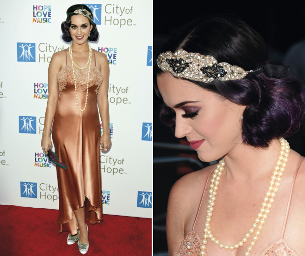 Katy Perry wearing a flapper style dress on the red carpet