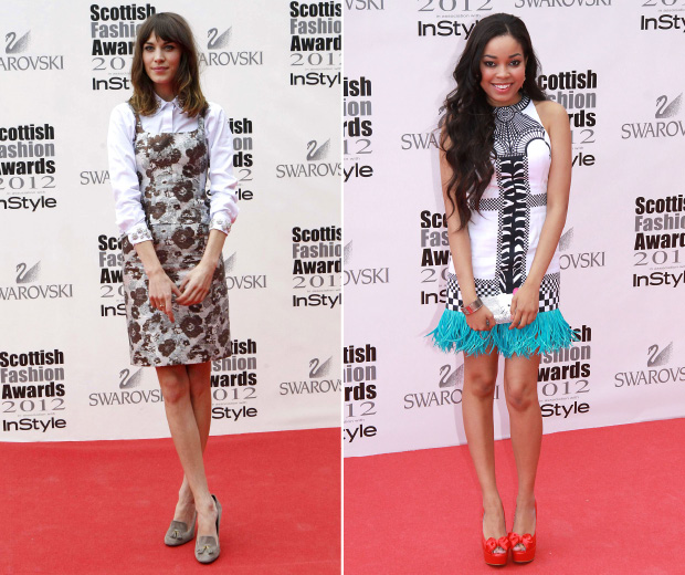 Alexa Chung in Christopher Kane and Dionne Bromfield on the red carpet at the 2012 Scottish Fashion Awards