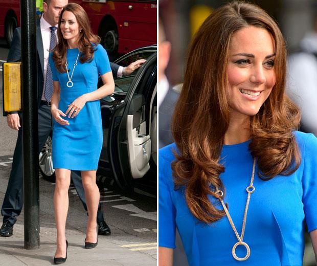 Kate Middleton In London In Blue Shift Dress, 2012