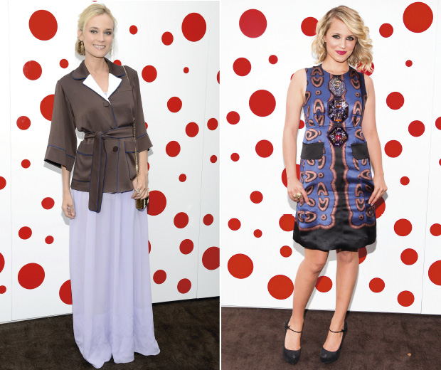 Diane Kruger and Dianna Agron on the red carpet at a Louis Vuitton party to honour Yayoi Kusama in New York