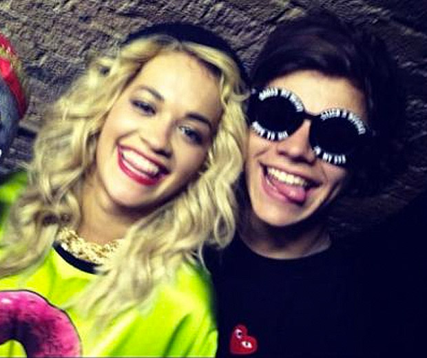 Rita Ora and One Direction's Harry Styles were all smiles backstage at G.A.Y