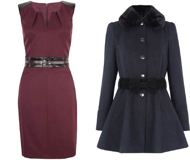 Primark AW12 berry belted dress, £20 and belted fur collar coat, £30