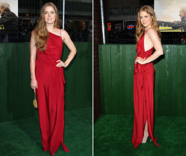 Amy Adams rocks red at the premiere of her new movie last night.