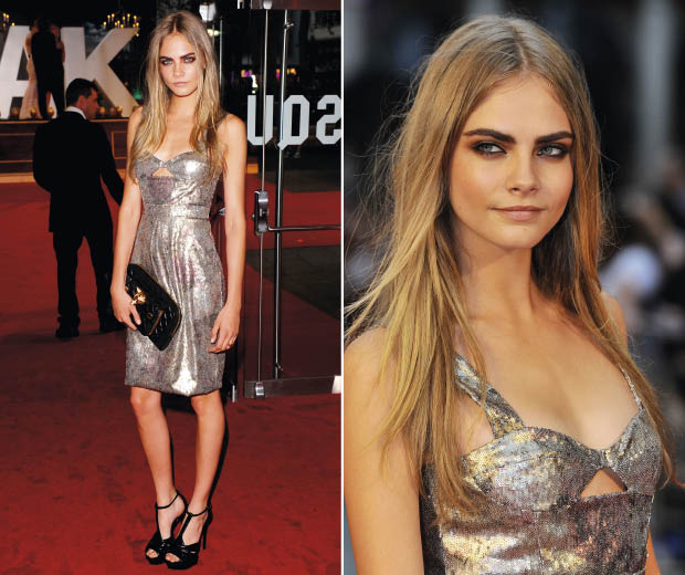 Cara Delevingne wearing Burberry on the red carpet at the Anna Karenina film premiere in London