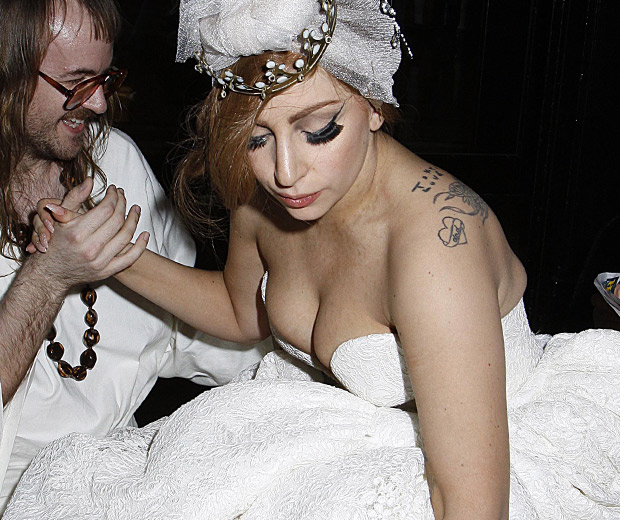 Lady Gaga wears a wedding dress out partying