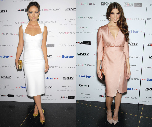 Olivia Wilde and Ashley Greene look knockout in neutral frocks at the Butter Premiere in New York