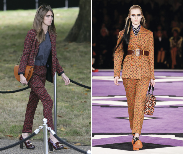 Sunday Girl in Warehouse at London Fashion Week, left, Prada AW12, right