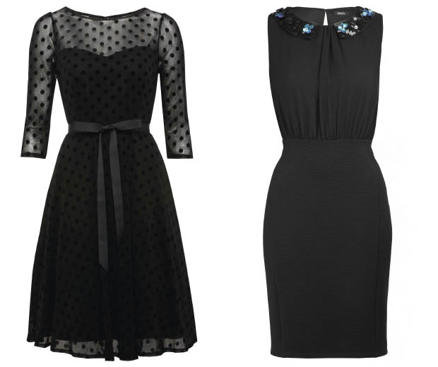 A polka dot 50s dress and jewelled neckline dress from M&Co's Little Black Dress Collection